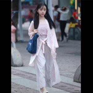 池夏 初见:蔷薇原创设计改良汉服汉元素宋裤褙子套装抖音爆款包邮