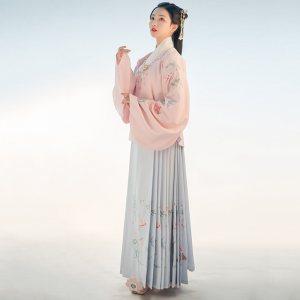 重回汉唐免费抢红包最快的软件春装女舒窈原创中国风非古装明制交领齐腰袄裙套装