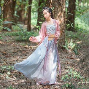 【买二送一】汉尚华莲花莳汉服女粉色上衣褙子蕾丝搭配日常款褶裙