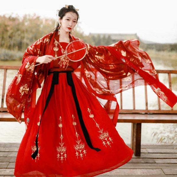 山有扶苏 原创黄泉影系列 传统汉服女彼岸花金线刺绣对襟襦裙套装