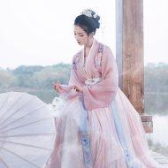 重回汉唐婉妆改良汉服女原创6米摆齐腰襦裙对襟褙子中国风春夏装