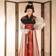 重回汉唐令月汉服女对襟齐腰襦裙原创春夏季日常高腰套装中国风