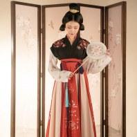 重回汉唐令月汉服女交窬裙对襟齐腰襦裙原创春夏季日常套装中国风