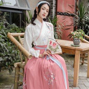 重回汉唐汉服女装锦葵清新淡雅绣花交领齐腰襦裙中国风非古装春装