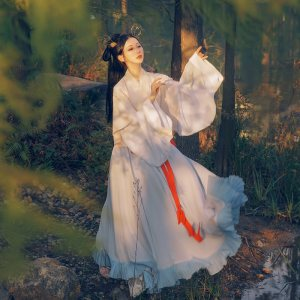 重回汉唐洛水瑶原创汉服女晋制春夏中国风半臂交领齐腰襦裙套装