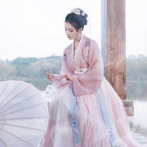 重回汉唐婉妆 免费抢红包最快的软件传统原创6米大摆齐腰襦裙对襟褙子刺绣春夏女装