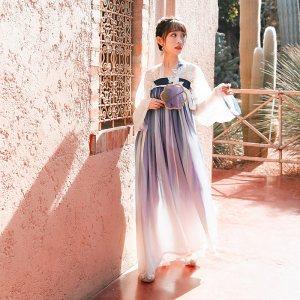 【十三余 小豆蔻儿】[相思蝶]对襟衫齐胸两片式渐变下裙汉服女