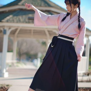 徐娇织羽集[踏樱]汉元素套装2019新款女装夏季文艺复古两件套