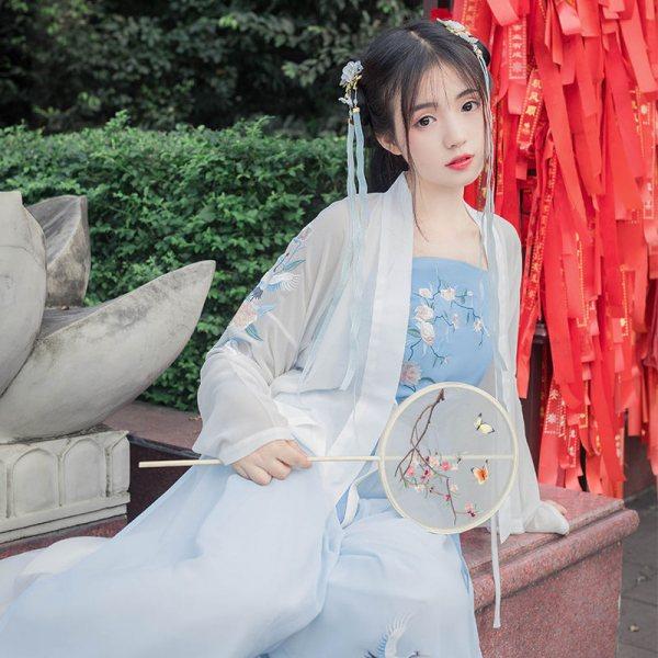 【酒中仙】花朝记汉服原创仙鹤刺绣对襟短褙子宋裤春夏日常女装