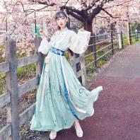 【十三余 小豆蔻儿】[山水之乐]刺绣齐腰对襟上衫6米摆褶裙汉服女