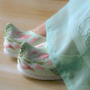 钟灵记【般若】坡跟鞋千层底内增高高跟弓鞋古风绿色绣花鞋翘头鞋