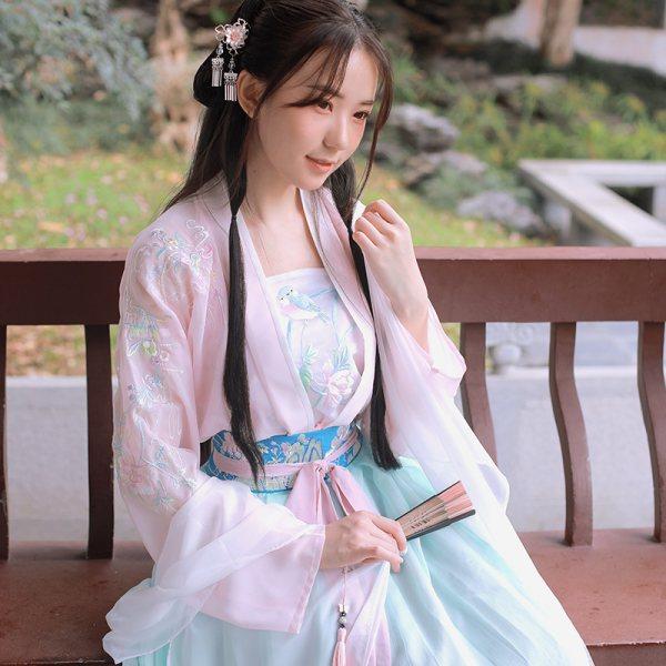 钟灵记【绯烟】日常汉服女对襟上襦齐腰襦裙改良吊带中国风春夏秋