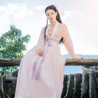 重回汉唐嘉卉汉服女款夏季对襟齐腰襦裙套装一片式褶裙中国风日常