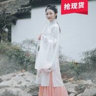 【月夕】花朝记汉服原创秋菊绣花立领斜襟长衫4.5米裙摆