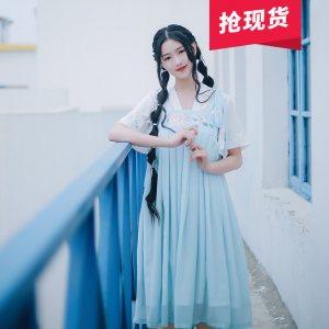 轻灵 花朝记汉服原创刺绣汉元素对襟衫两穿背带裙春夏女装