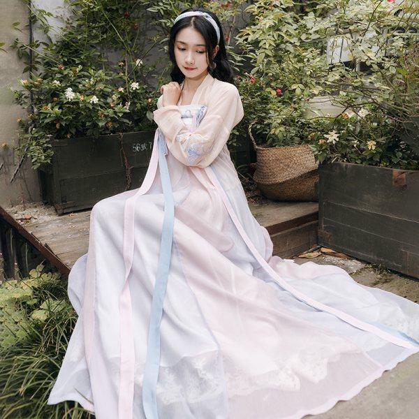 重回汉唐原创正品汉服女燕燕于飞古中国风对襟齐胸襦裙套装春夏季