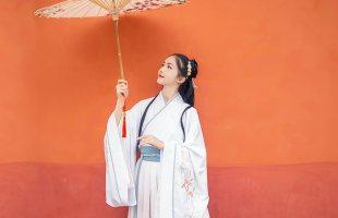 汉尚华莲琴师传统汉服女刺绣大袖交领襦裙齐腰渐变印花日常春夏装