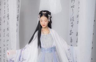 汉尚华莲灵槐原创正品大袖衫女汉服单件黑白两色印花日常披风春装