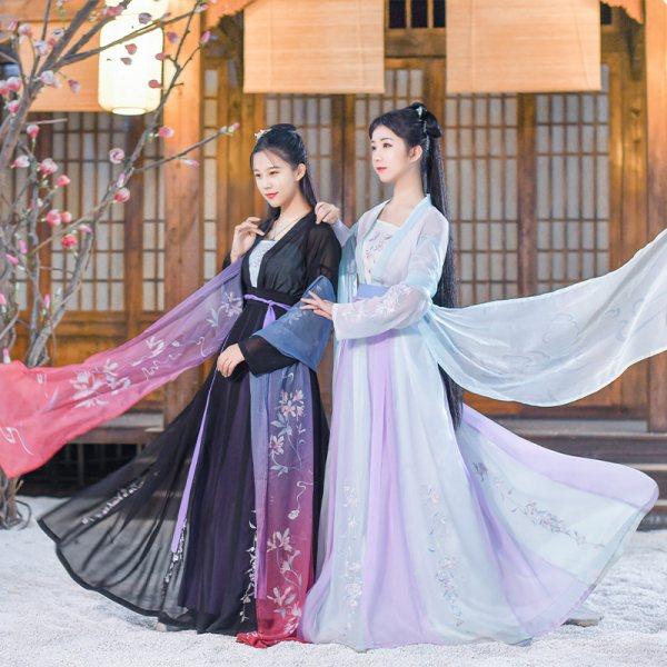 如梦霓裳原创 汉服女夏装 对襟襦裙[紫薇]中国风绣花齐腰破裙日常