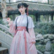 池夏 噗叽:樱华 原创改良汉服汉元素齐腰齐胸双穿襦裙 樱花