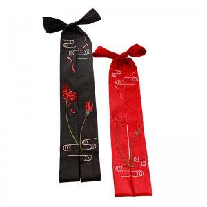 池夏 曼珠沙华:彼岸花发带 红黑礼盒装汉服周边配饰双面绣花包邮