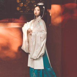 池夏:松寒客 原创明制立领长披风马面裙改良汉服女冬季汉服套装