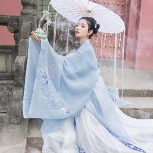 重回汉唐婉妆汉服女传统大袖衫原创中国风日常刺绣披风外套春夏装