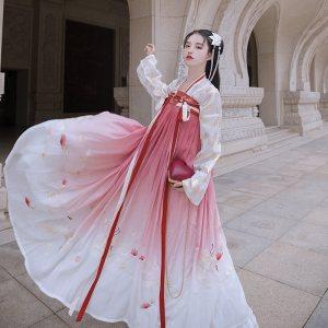 重回汉唐鹤夜原创正品汉服对襟齐胸襦裙5米大摆重工刺绣渐变女装