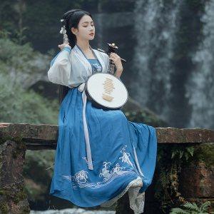 重回汉唐免费抢红包最快的软件女夏装渊海中国风对襟齐腰襦裙褙子套装日常非古装