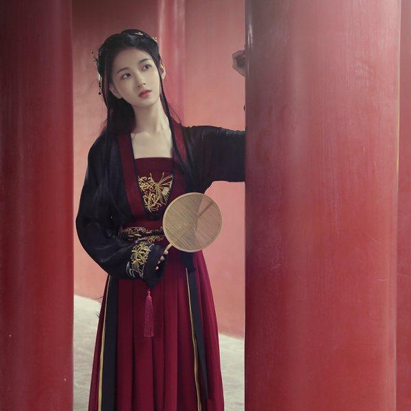 池夏 曼珠沙华:浮苼原创改良汉服宋制齐腰襦裙春季女套装彼岸花