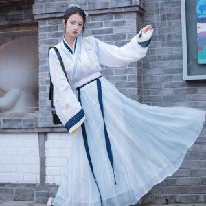 【流影】梨花渡原创中国风晋制汉服女齐腰一片式十二破裙套装