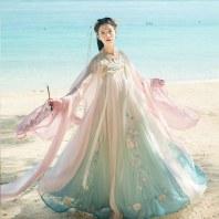 汉尚华莲画皮原创汉服女夏中国风齐胸襦裙渐变色超仙6米间色大摆