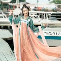 汉尚华莲红珊瑚正品原创超仙汉服女中国风绣花改良两片式齐胸襦裙