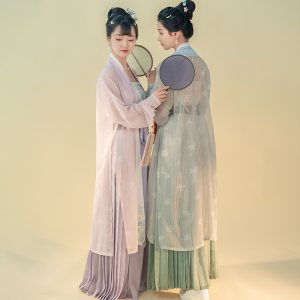 重回汉唐青安汉服女传统刺绣套裙两件套百迭裙对襟上褙子外套夏季