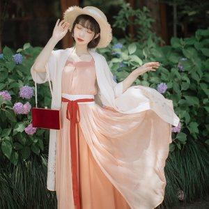徐娇织羽集[回舟] 汉服元素女装2019夏季日常款外套 吊带裙套装