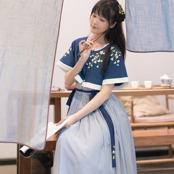 徐娇织羽集[怀山叙] 汉服元素女装 夏季原创设计上衣 吊带连衣裙