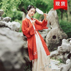 花朝记【凝红妆】原创刺绣明制汉服竖领对襟衫3米襦裙春夏女装