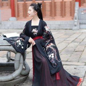 如梦霓裳汉服夏装女对襟襦裙灵犀原创设计黑齐腰大袖绣花蕾丝裙边
