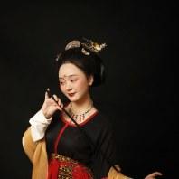 【镜中眉】唐 坦领U领齐腰襦裙 三件套 汉族正规汉服  真丝