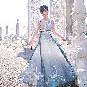 【十三余 小豆蔻儿】[千山鹭鸶]对襟上衫6米摆下裙齐腰衫裙汉服女