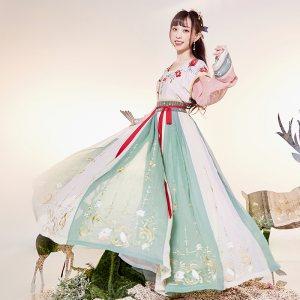 【十三余 小豆蔻儿】[飞天乐]6米大摆下裙刺绣坦领绣花襦裙汉服女
