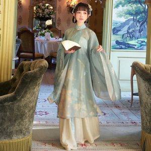 【十三余 小豆蔻儿】[阿宝]竖领斜襟长衫印花主腰一片式下裙汉服