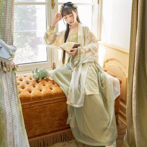 【十三余 小豆蔻儿】[菊桑茶]双层印花褙子宋抹一片式下裙汉服女