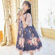 【十三余 小豆蔻儿】[狐女]蝴蝶结吊带短款印花国风连衣裙夏季