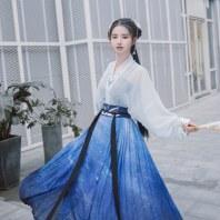 【凛曲】梨花渡原创中国风传统汉服女刺绣对穿交齐腰百迭裙套装