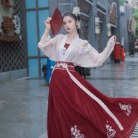 【绛熏】梨花渡原创传统汉服女对穿交齐腰百迭裙中国风春夏全套