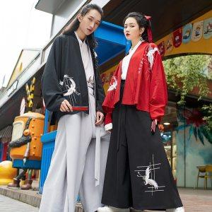 重回汉唐仙令汉服男女情侣款对襟上衣短衫袴裤套装绣花仙鹤夏季