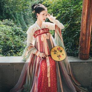 重回汉唐锦璃唐制汉服女秋季短褙子破裙套装6米大摆对襟齐胸襦裙