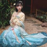 空青 京渝堂6米黄绿色渐变绣花两片齐胸半身裙 非古装满额包邮