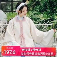 重回汉唐传统汉服女装绣花半袖拂绒加厚保暖半臂日常非古装秋冬季